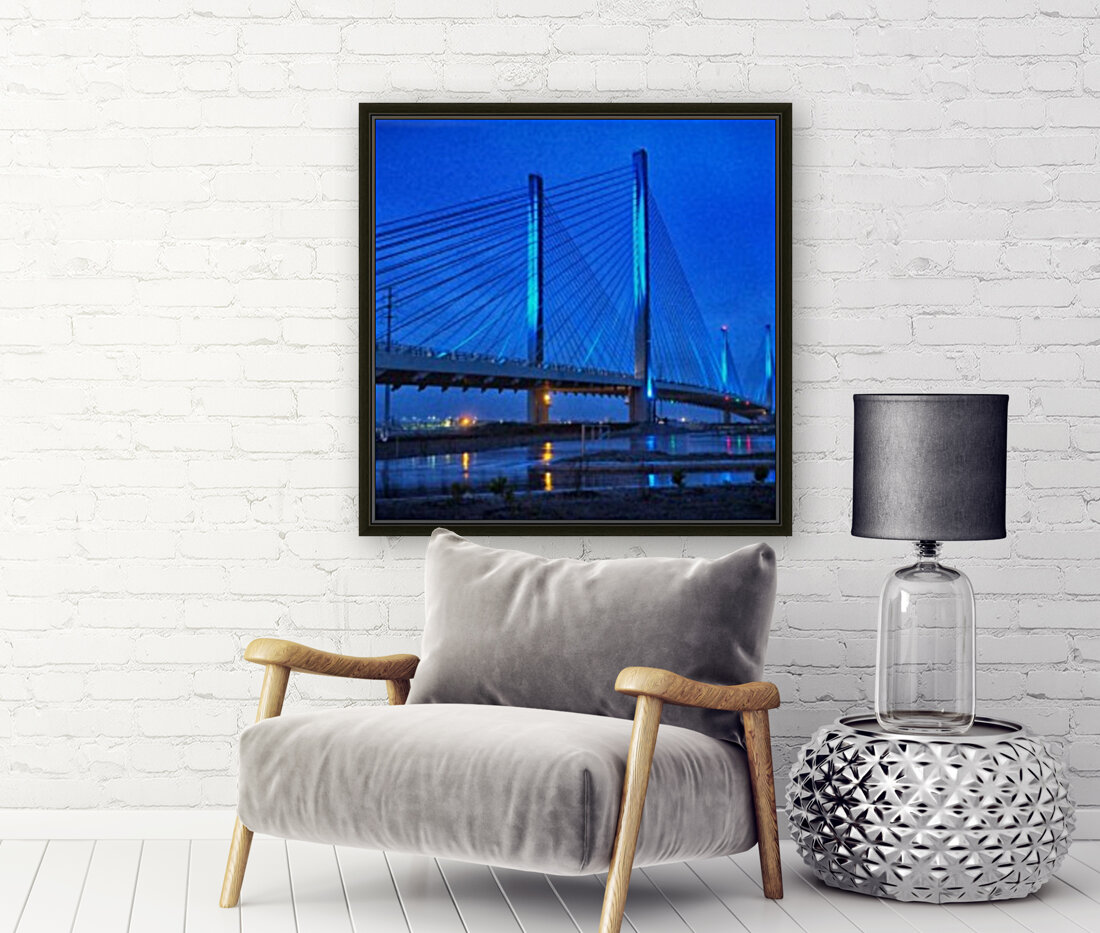 Blue Bridge In The Rain At Indian River Inlet  Art