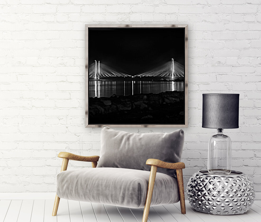 Indian River Bridge After Dark in Black and White  Art