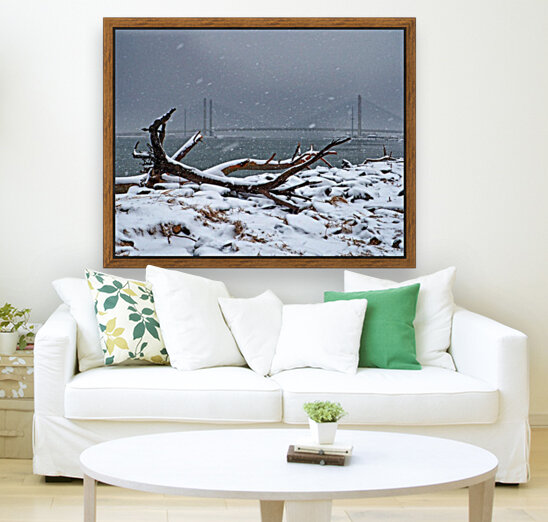 Indian River Bridge with Driftwood and Snow  Art