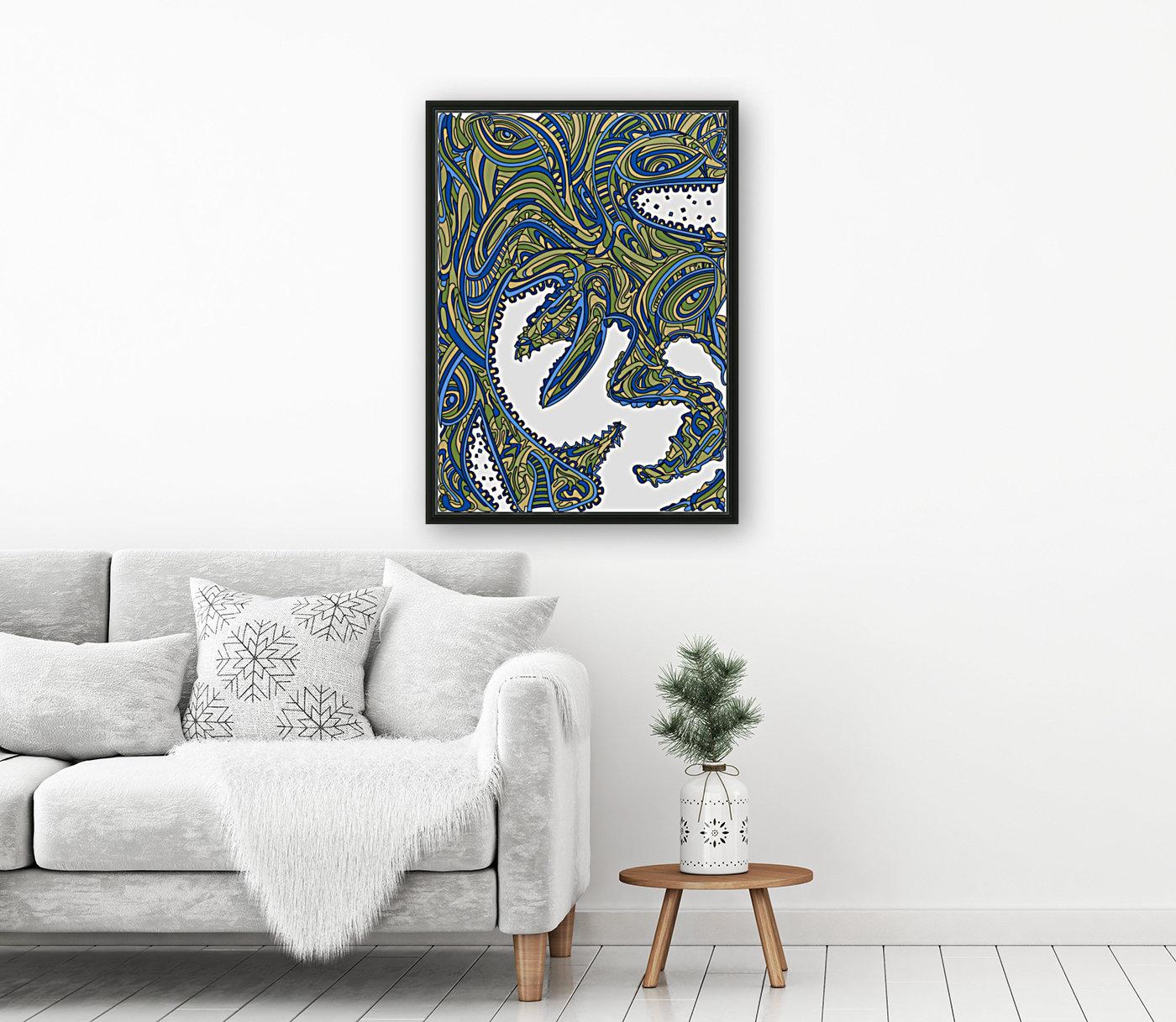 Wandering Abstract Line Art 17: Green  Art