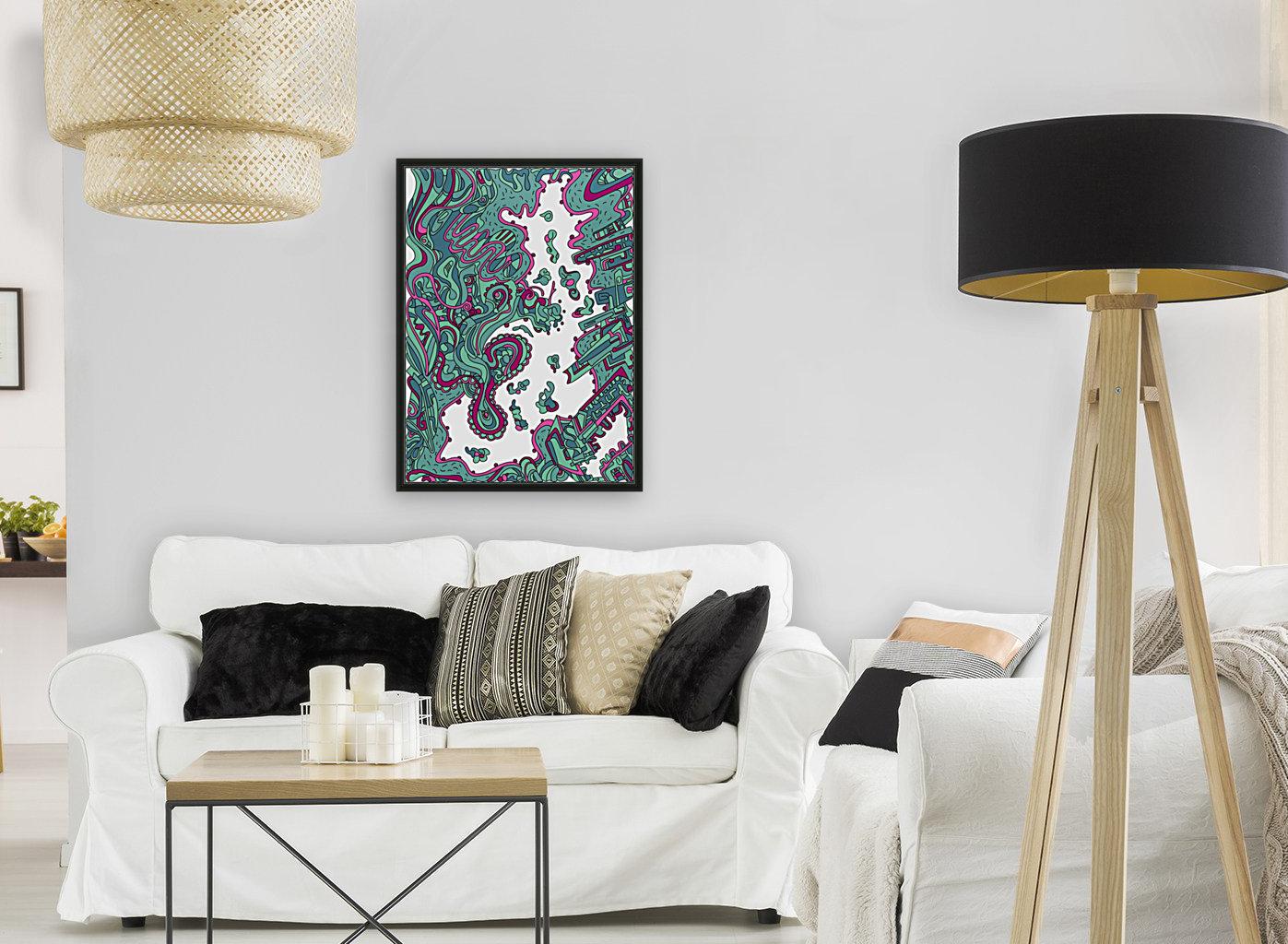 Wandering Abstract Line Art 20: Green  Art