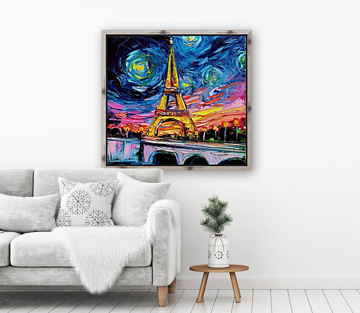 Eiffel Tower Starry Night print van Gogh  Art