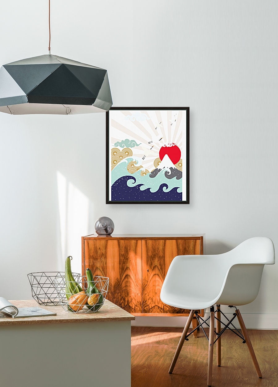 mountain sun japanese illustration with Floating Frame