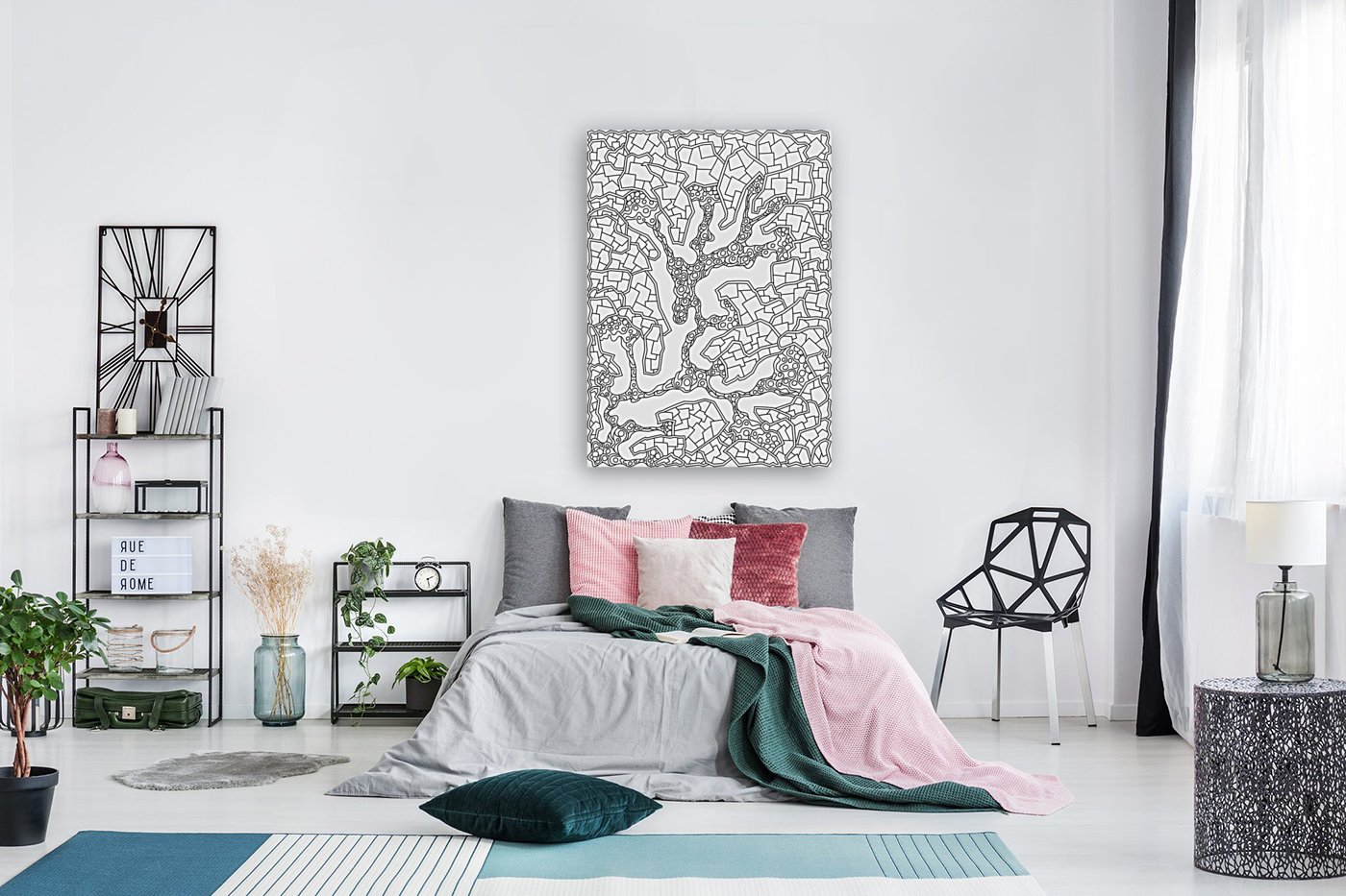Wandering Abstract Line Art 40: Black & White  Art