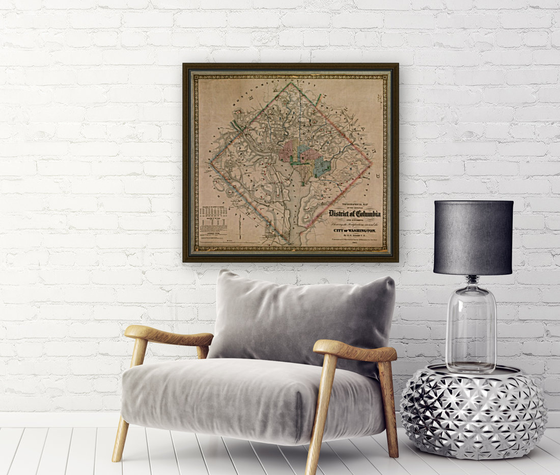 19th Century District of Columbia Map 1862  Art