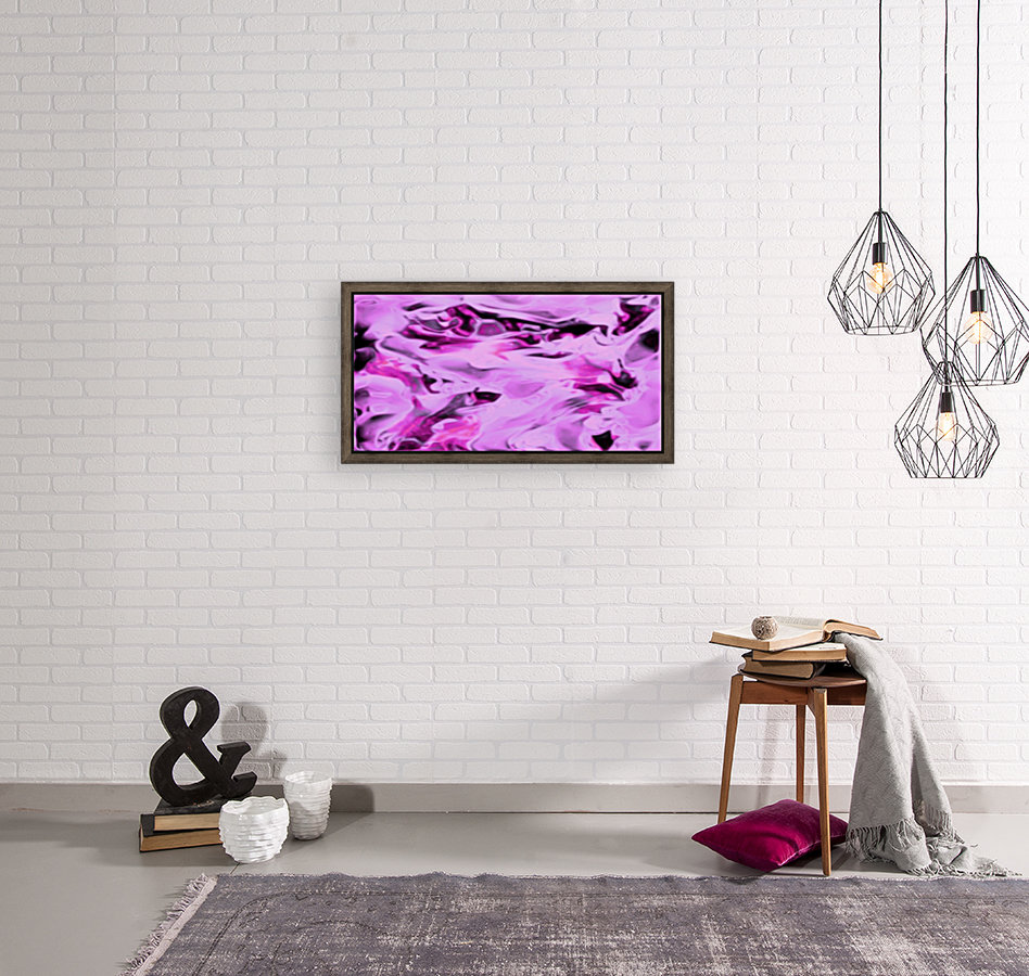 Pink Flamingo - pink grey black abstract swirl abstract wall art with Floating Frame