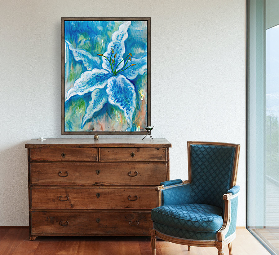 Blue Lily with Floating Frame