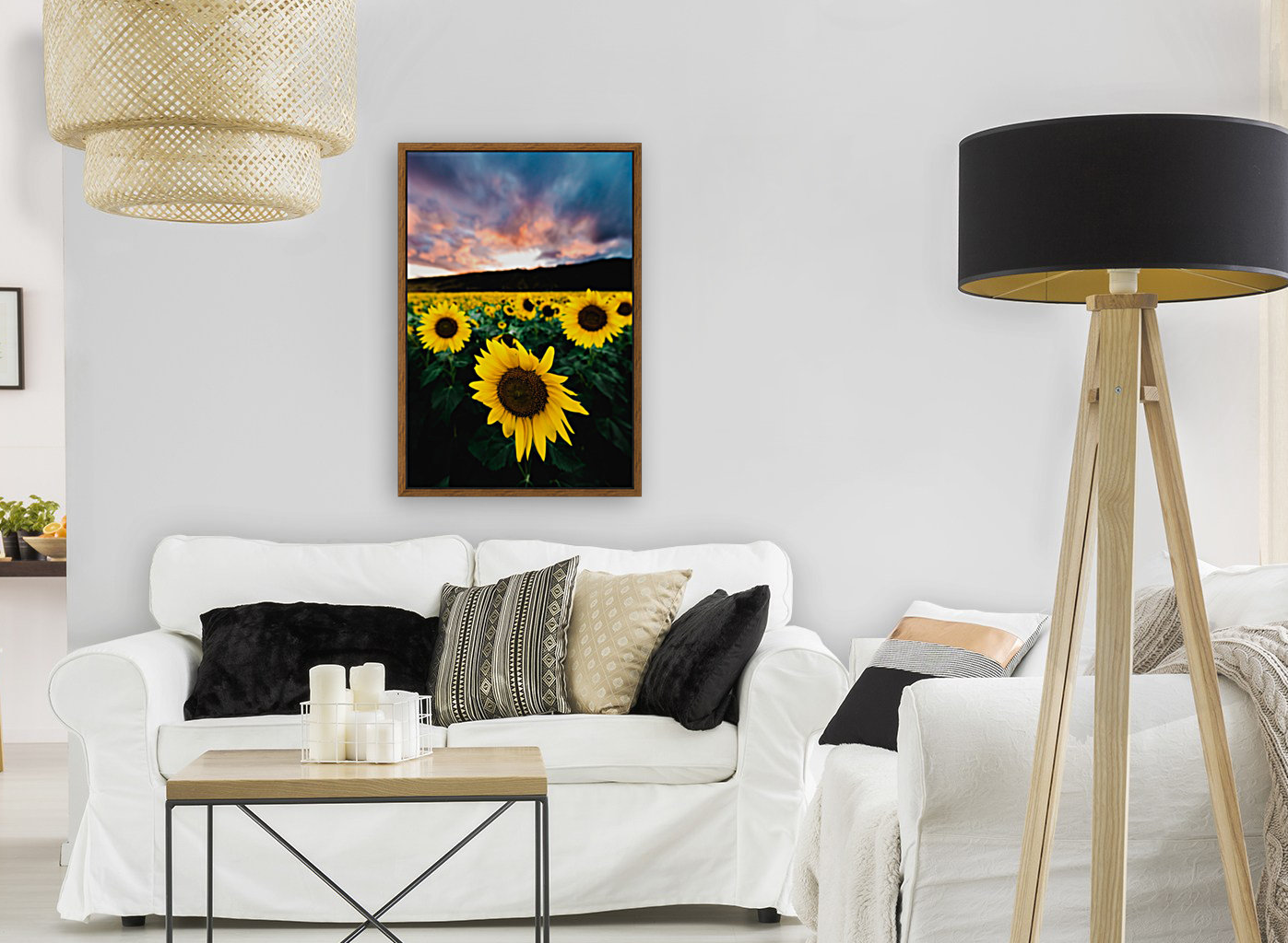 Sunflower Sunset with Floating Frame