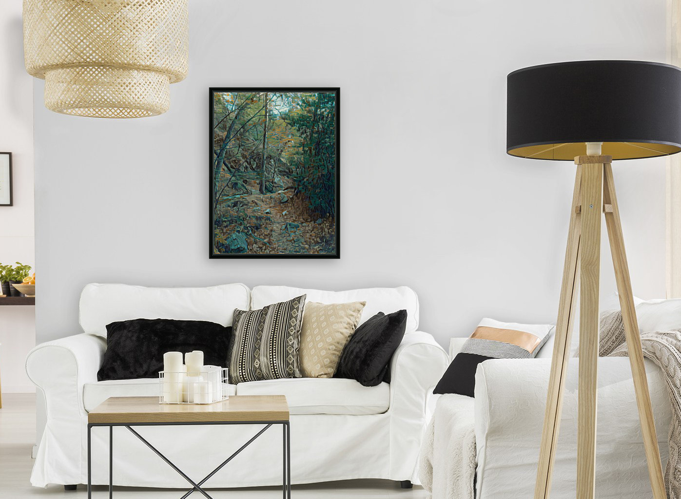 Mountain creek inspired by van Gogh with Floating Frame