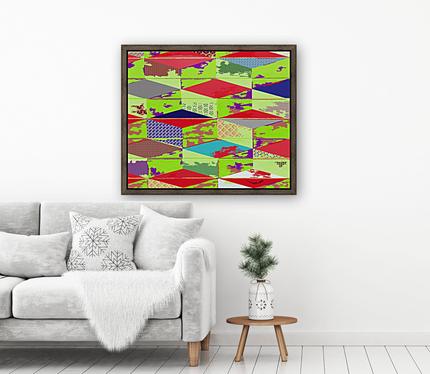 patchwork cubes by dePace with Floating Frame