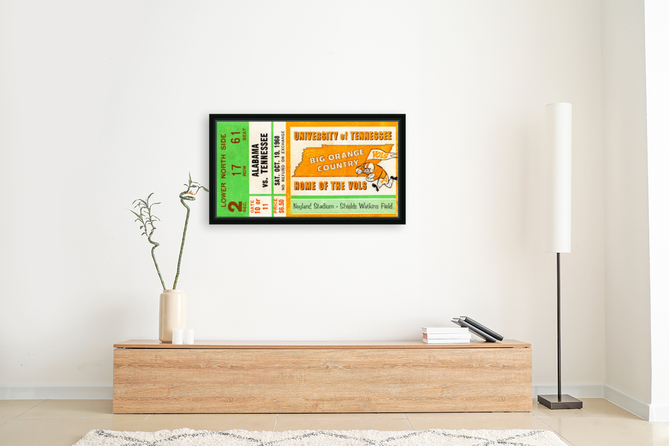 1968 Tennessee Vols Football Ticket Stub with Floating Frame