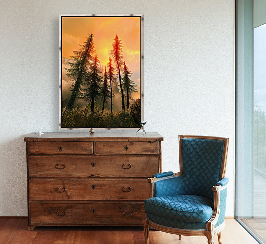 Pine Woods Sunset Fantasy  Art