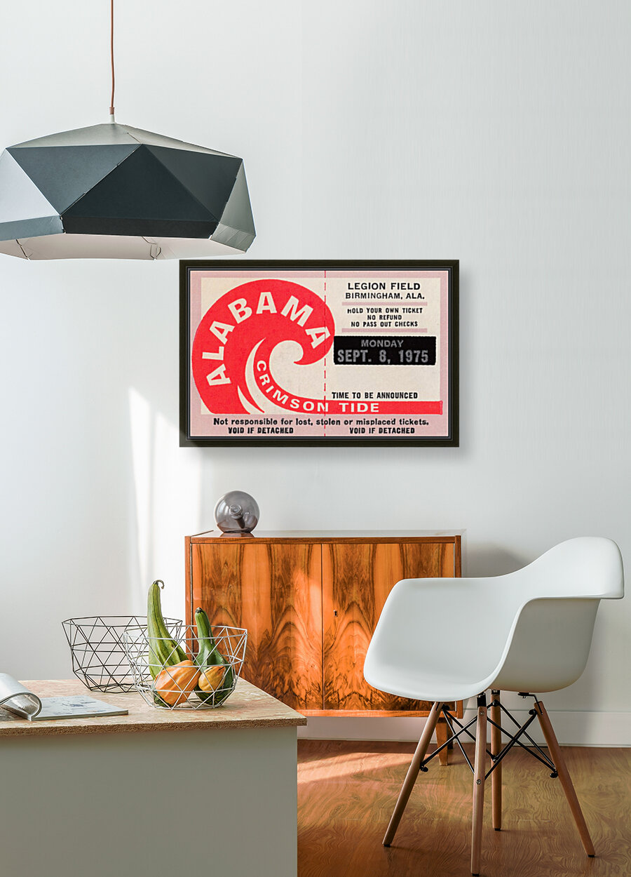 University of Alabama Crimson Tide Football Ticket Stub Art Poster  Art