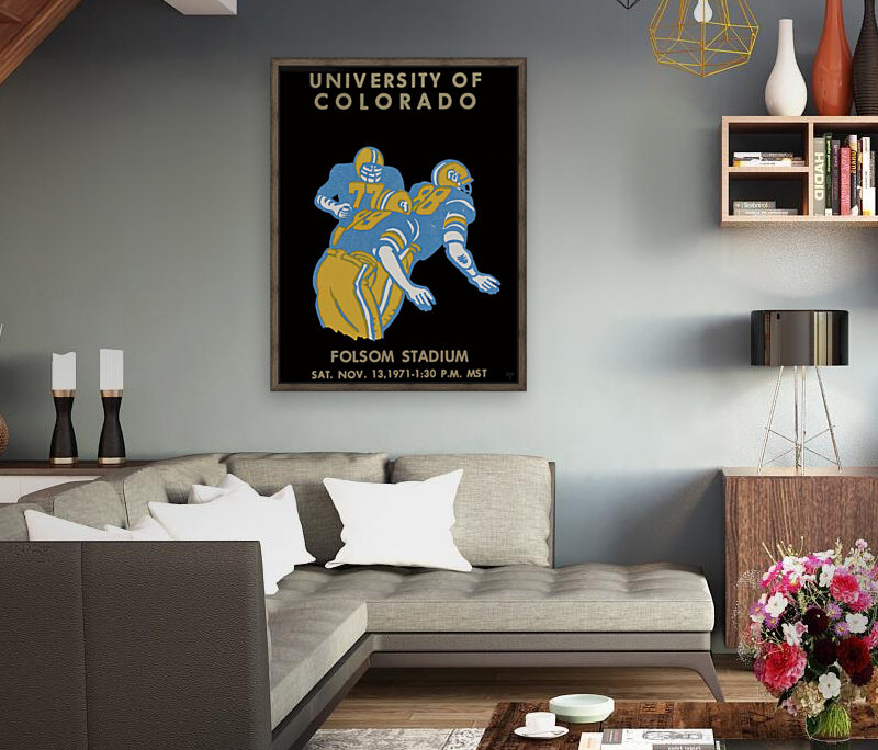 University of Colorado Football Ticket Stub Art Reproduction with Floating Frame