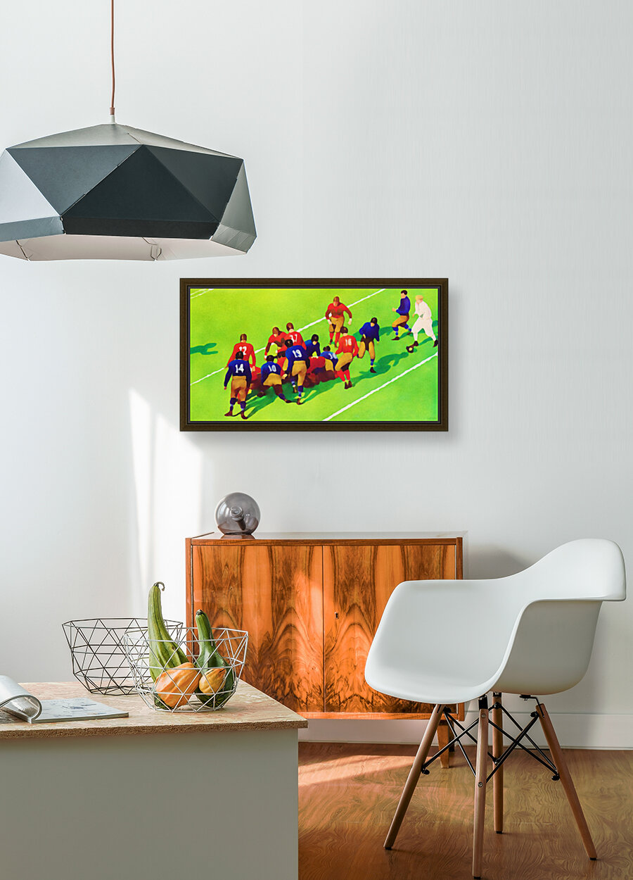 Vintage Football Art Sunny Day Gridiron Artwork with Floating Frame