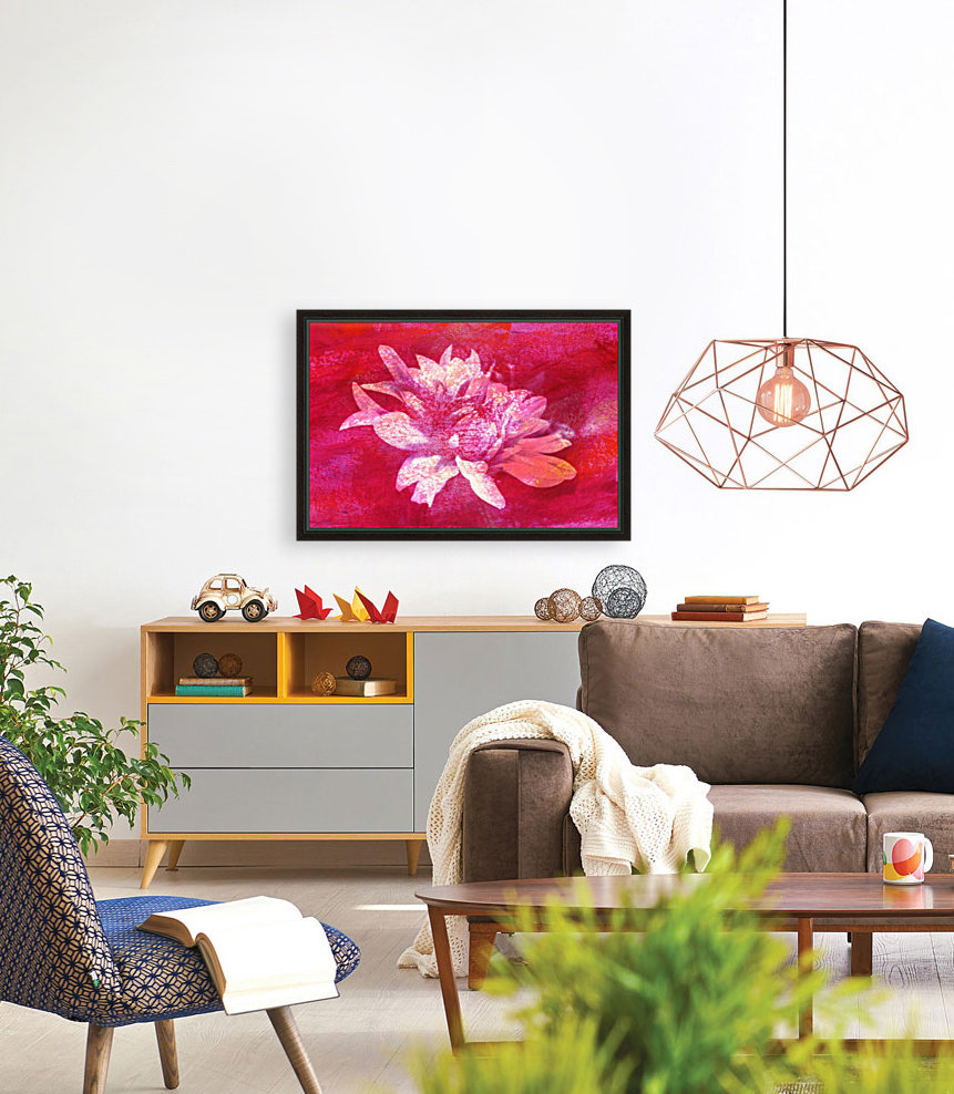 Modern Pink Dahlia with Floating Frame