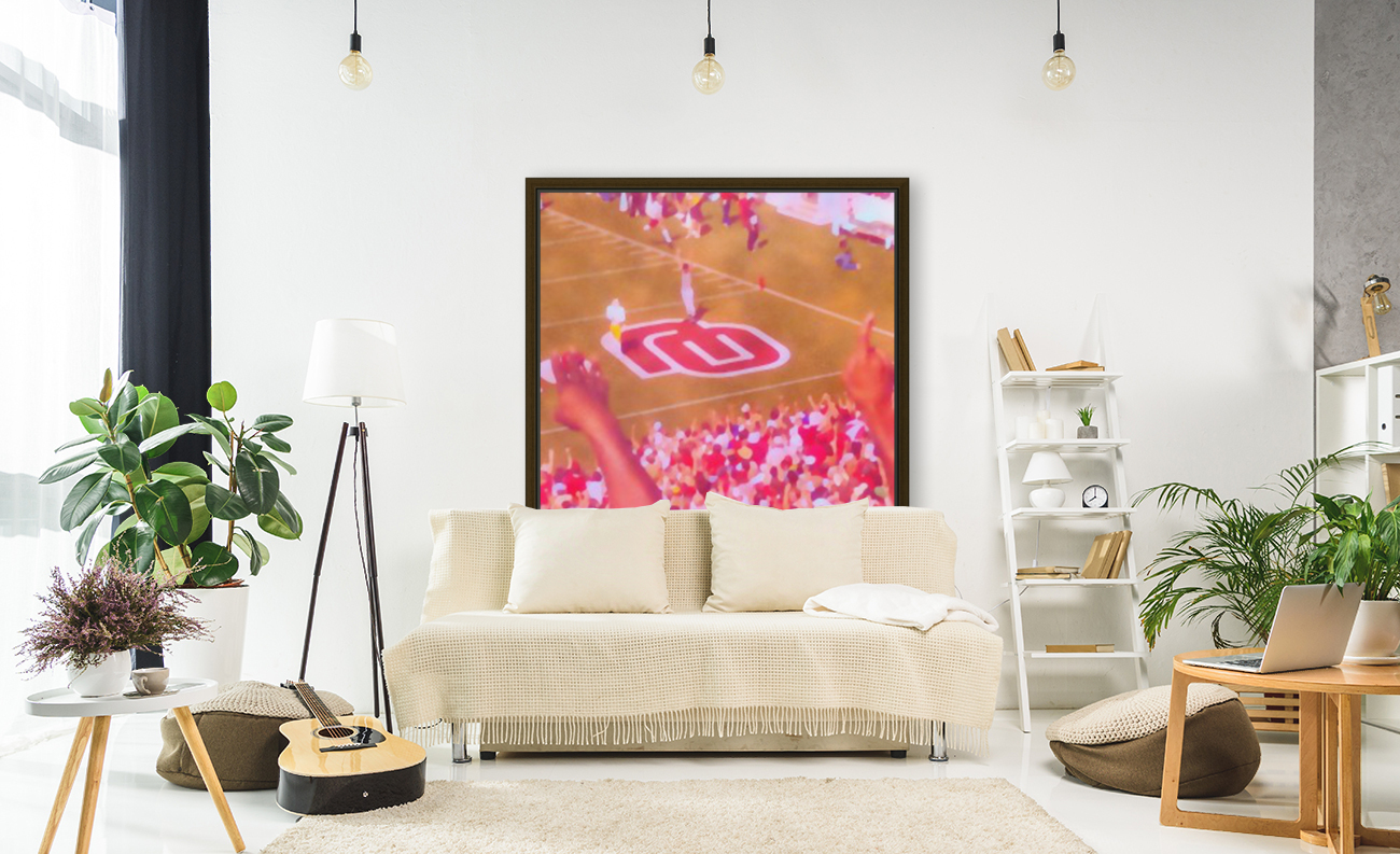 Oklahoma Football Art Owen Field OU Sooners Touchdown Art_Watercolor Style Retro 1980s Sports Art with Floating Frame