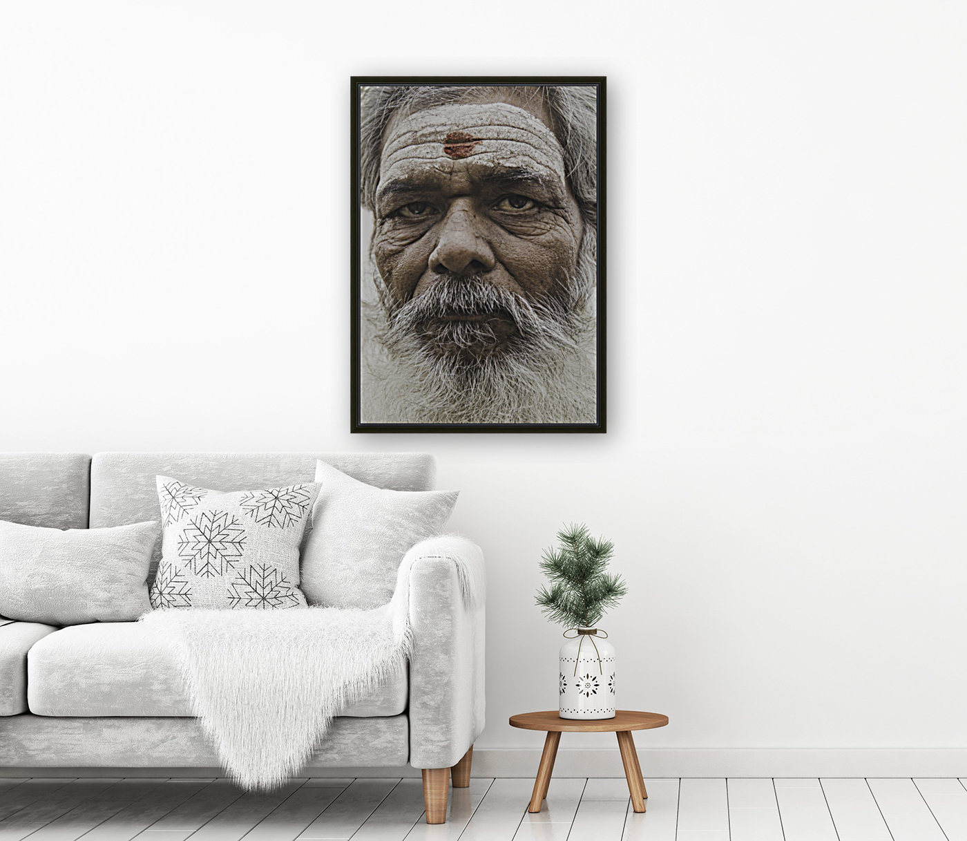 The Holy Man of Varanasi with Floating Frame