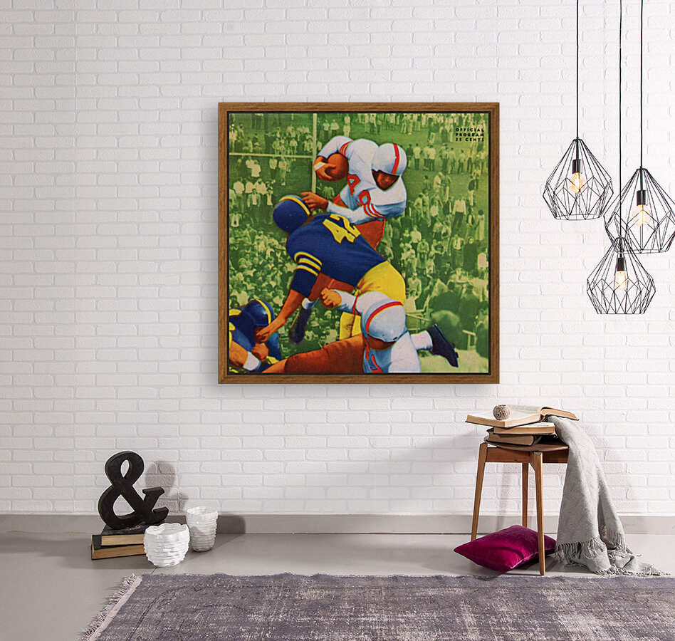 Vintage College Football Program Cover Art Print with Floating Frame