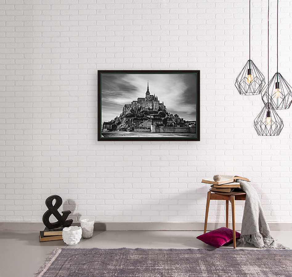 B&W Mont Saint Michel with Floating Frame