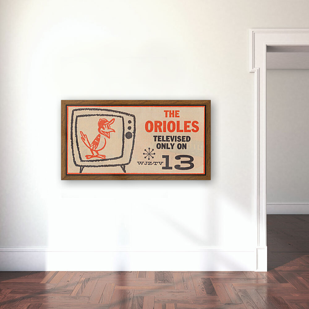 wjz tv baltimore maryland channel 13 television ad orioles baseball retro media ads  Art