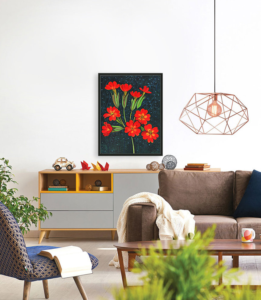 Red flowers shining in a magical starry night  Art