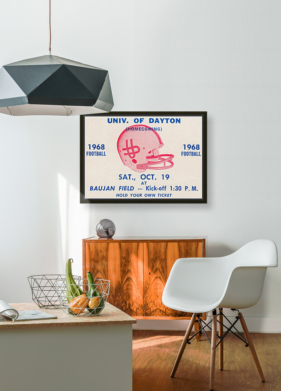 Vintage Dayton Flyers Football Ticket Poster with Floating Frame