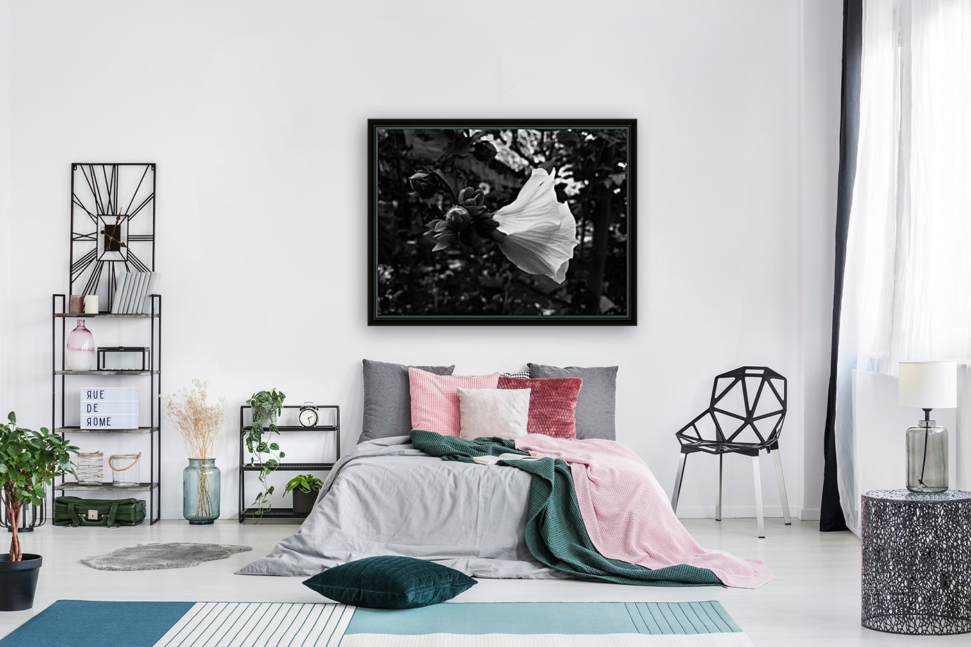 Blooming flower in black and white  Art