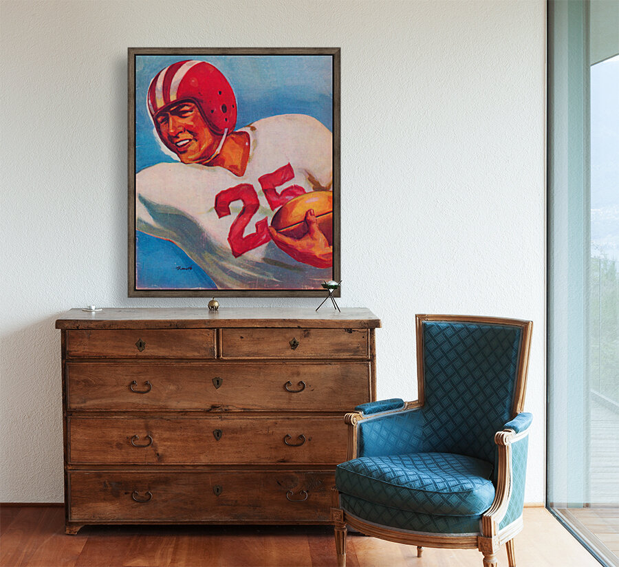 Vintage Football Art Uniform Jersey 25 with Floating Frame