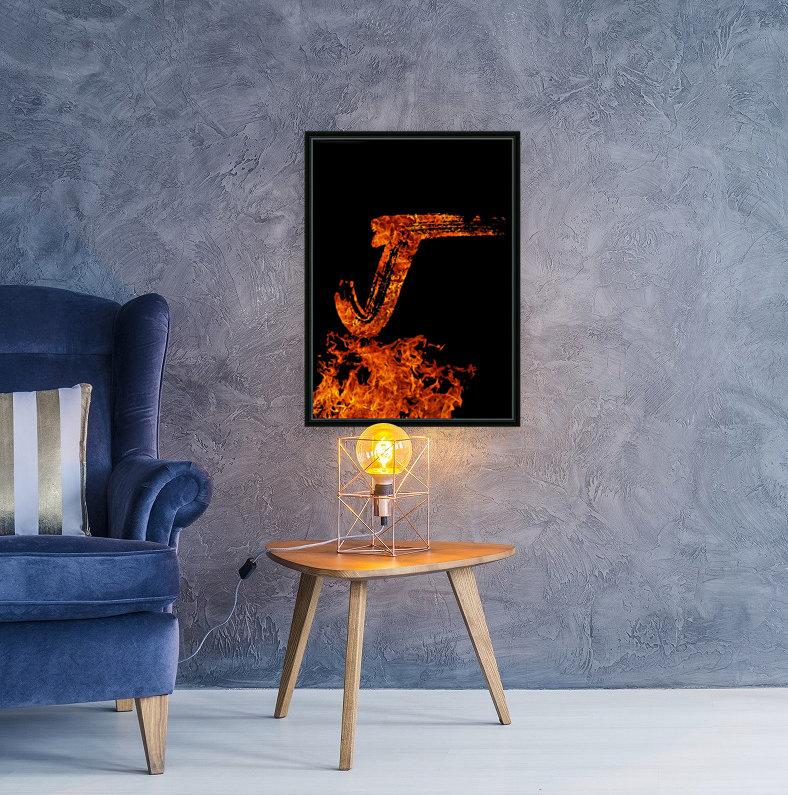 Burning on Fire Letter J  Art