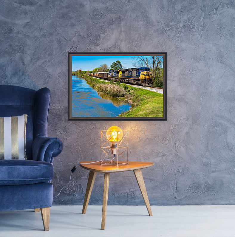 CSX Train along the Augusta Canal GA 02953 with Floating Frame