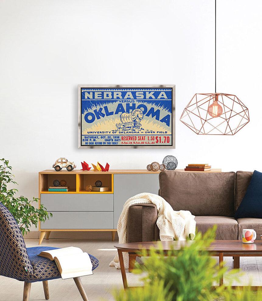 oklahoma football metal sign sooners ticket stub collection row 1 row one vintage sports art brand  Art