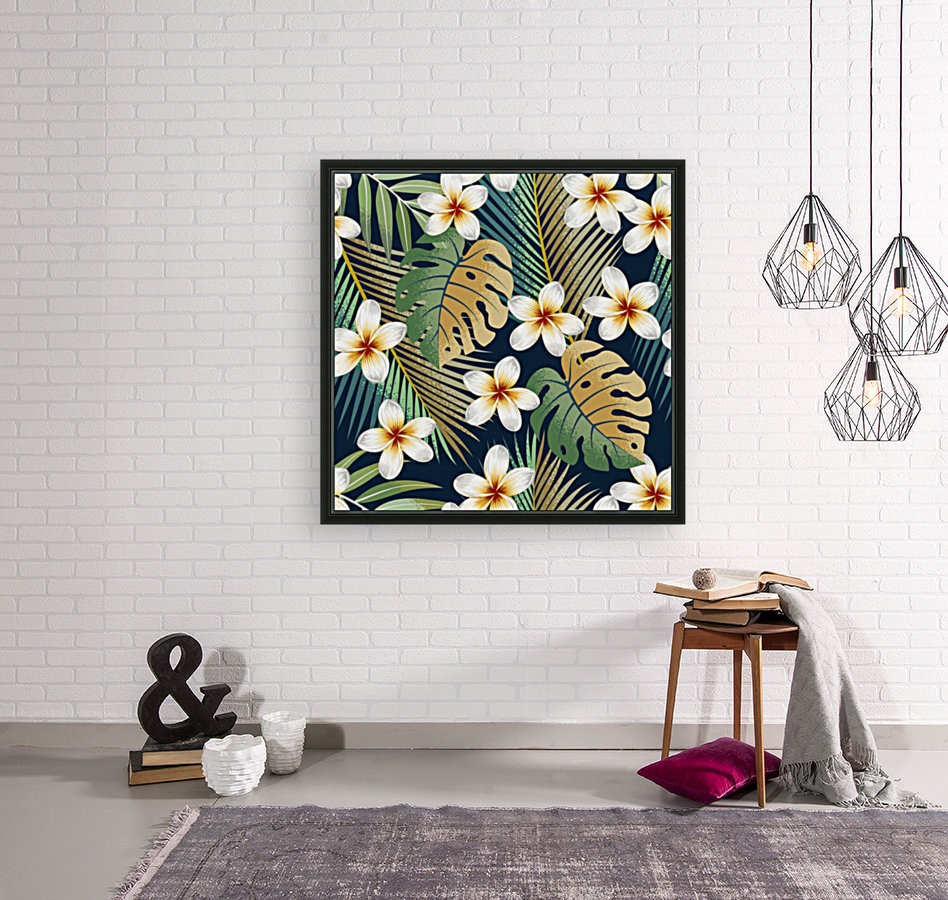 seamless pattern with tropical strelitzia flowers leaves exotic background_  Art