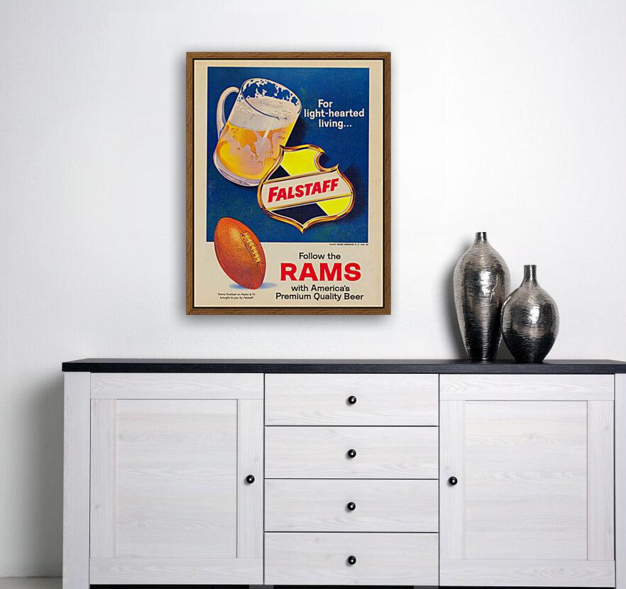 vintage falstaff beer ad poster la rams retro football metal sign  Art