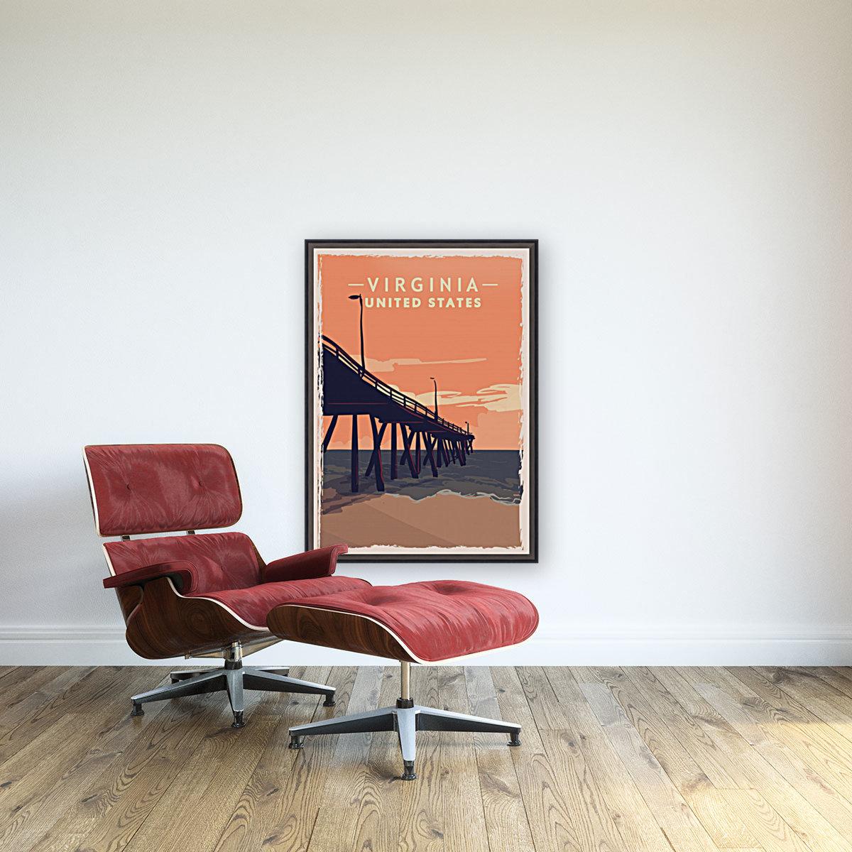 virginia retro poster usa virginia travel illustration united states america  Art