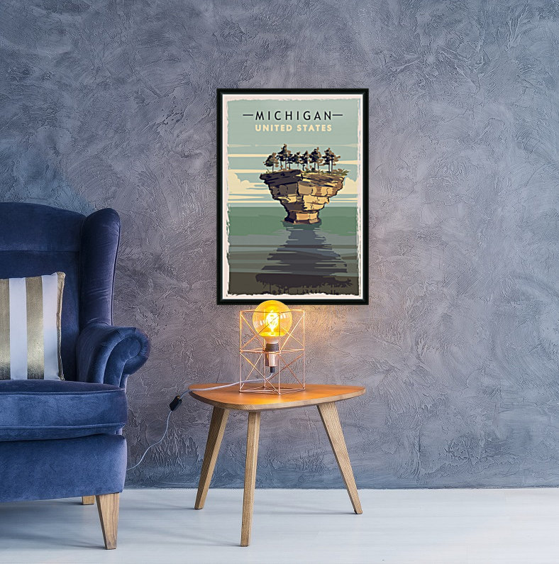 michigan retro poster usa michigan travel illustration united states america  Art