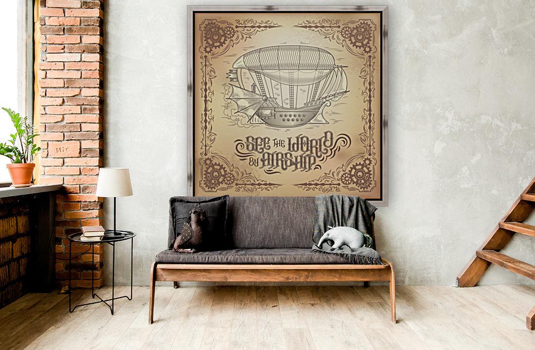 Vector steampunk poster illustration fantastic wooden flying ship  Art