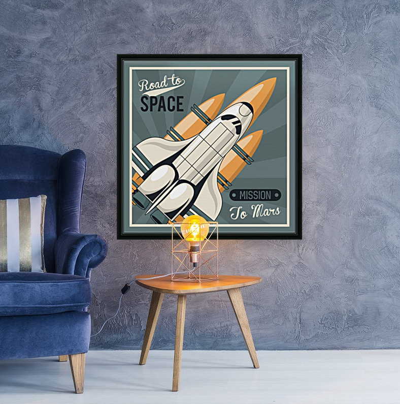 Life space poster with mars rocket rockets vintage  Art