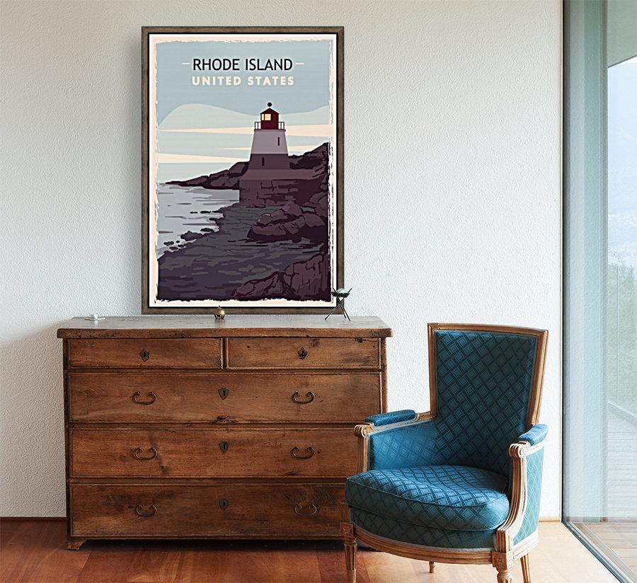 Rhode island retro poster usa rhode island travel illustration united states america  Art