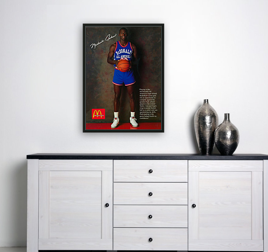 1987 McDonalds Michael Jordan Ad Poster with Floating Frame