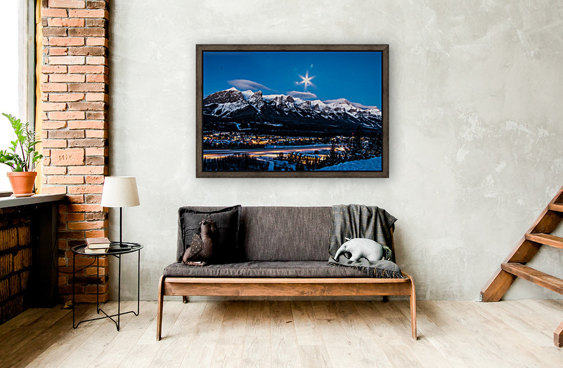 Canmore Morning Moon Over Rundle Mountain  Art