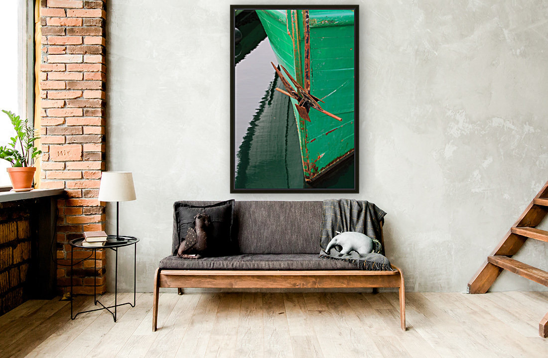 Green Fishing Boat and Anchor In Harbour  Art