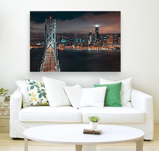 San Francisco Skyline at Night With The Bay Bridge  Art
