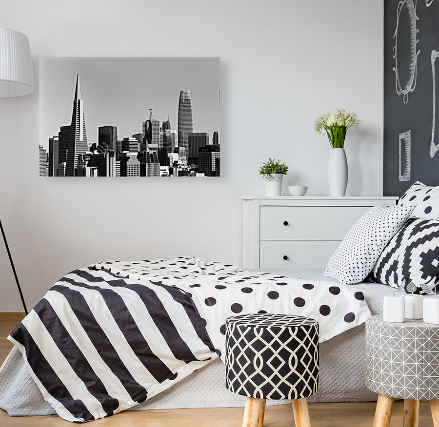 Black and White San Francisco Skyline with Floating Frame
