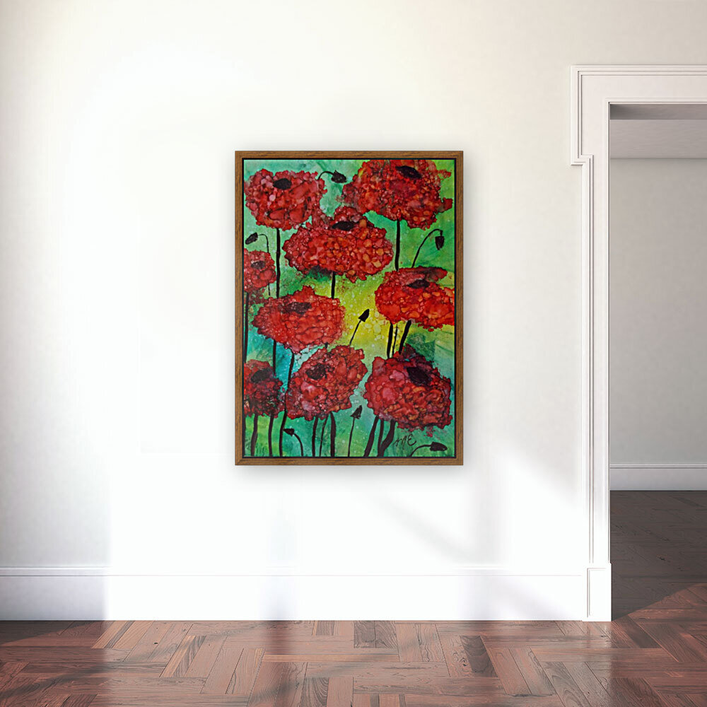 Thinking of Poppies with Floating Frame