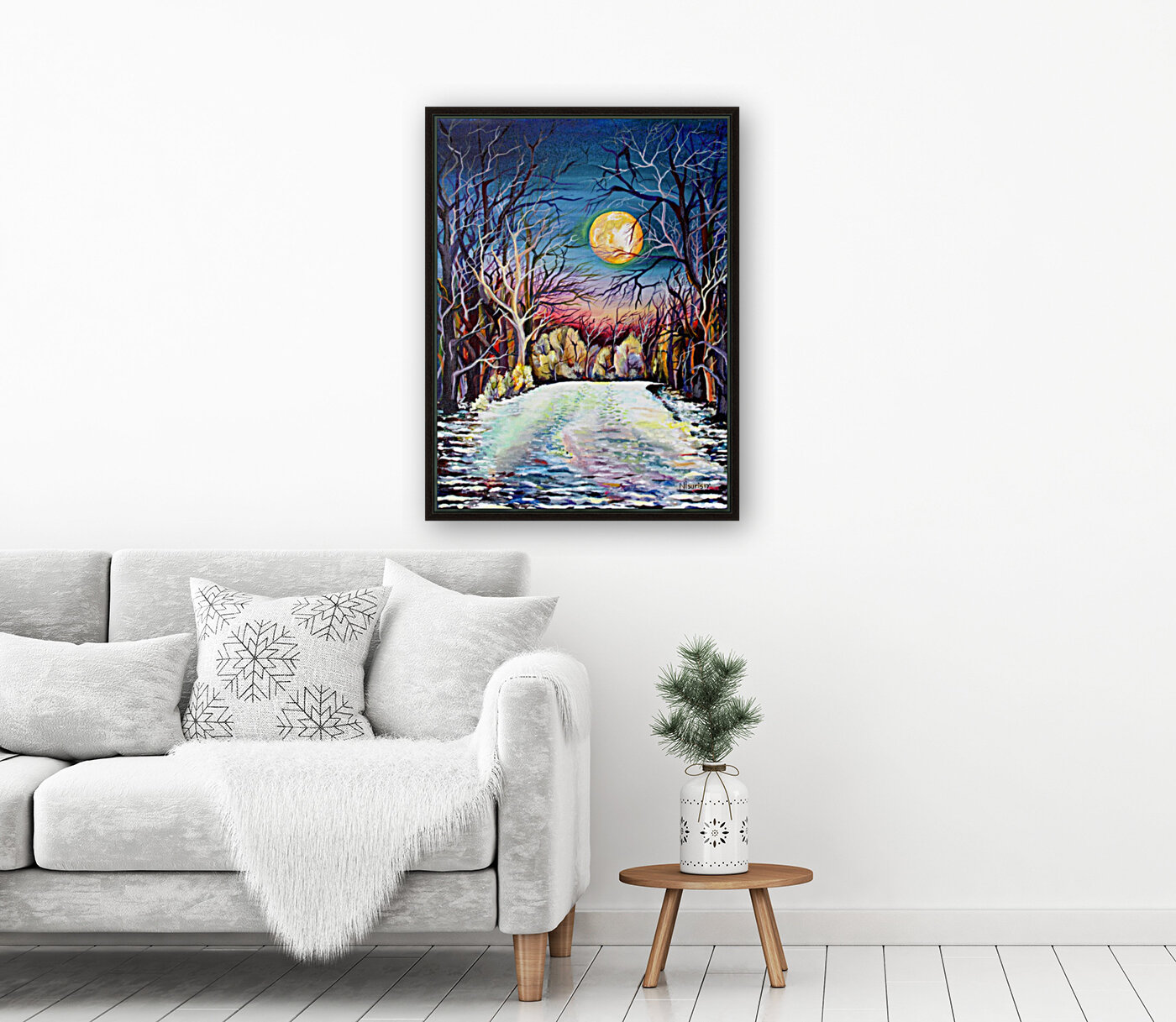 Winter Full Moon Night Landscape Watercolor  Art