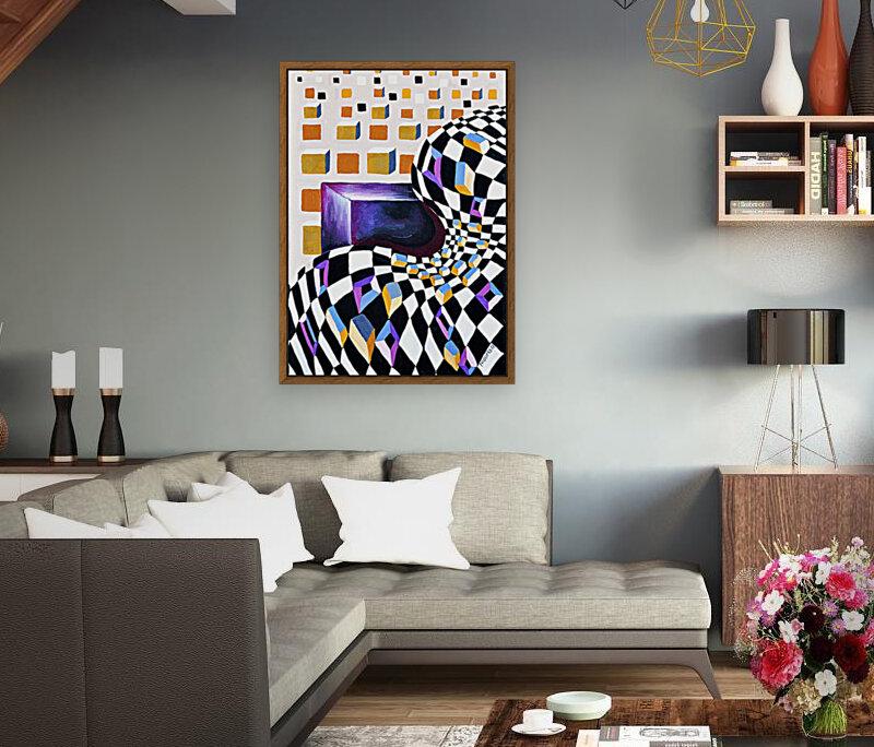 Retro Minimalism Abstract Chess Pattern  Art