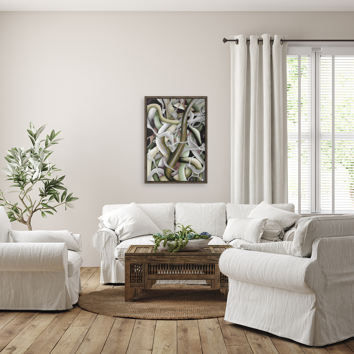 Interlacing Dramatic Contemporary Abstract with Floating Frame
