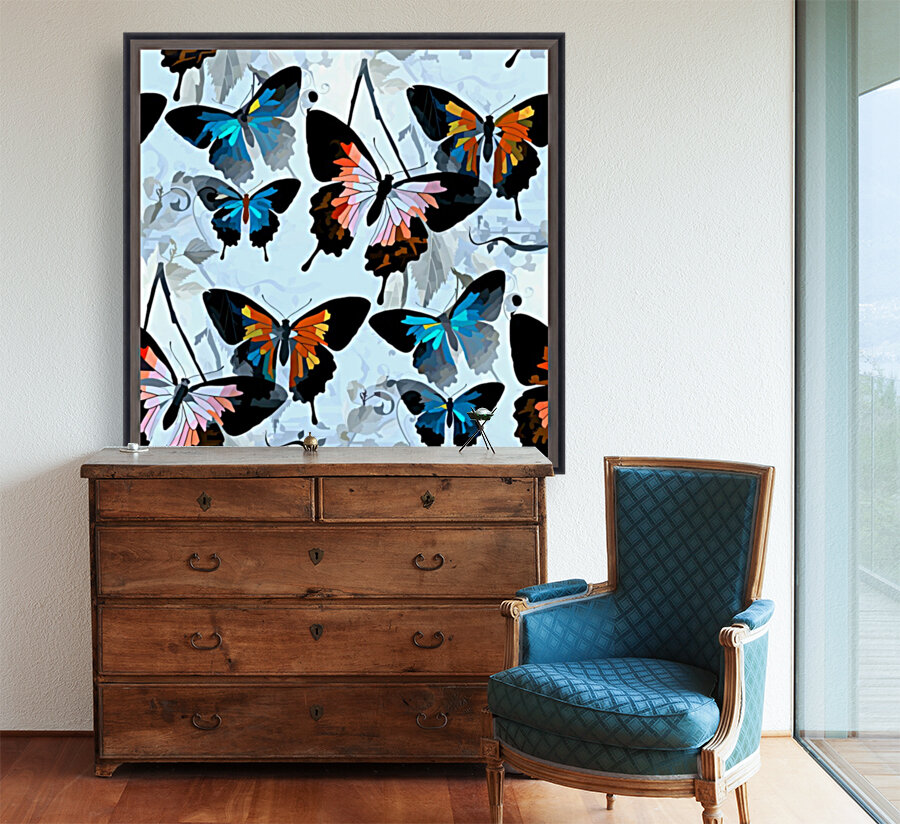 Seamless Butterflies Pattern  with Floating Frame