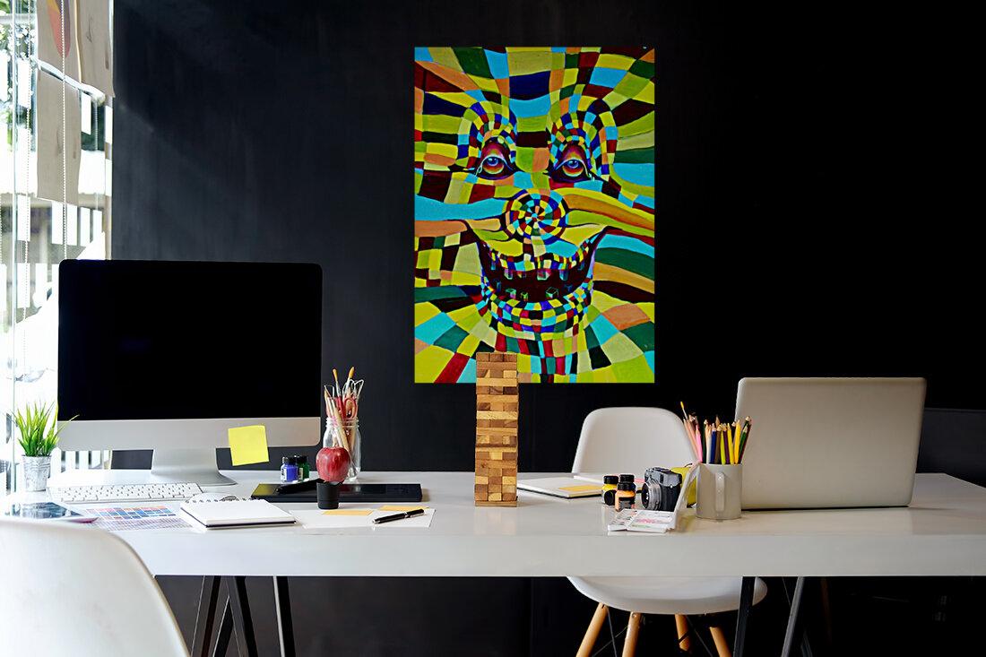 Watecolor Contermporary Pop Surrealism Clown   Art